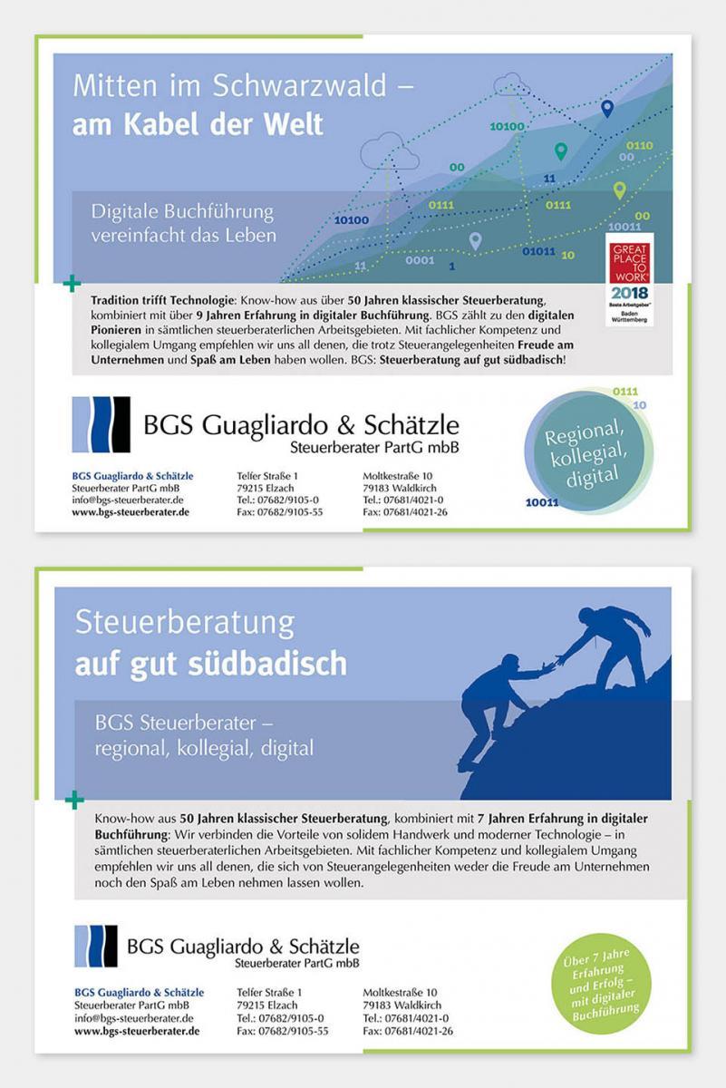 DRWA Das Rudel Werbeagentur Freiburg > Kompetenzen > Print-Design > BGS Steuerberater Elzach und Waldkirch