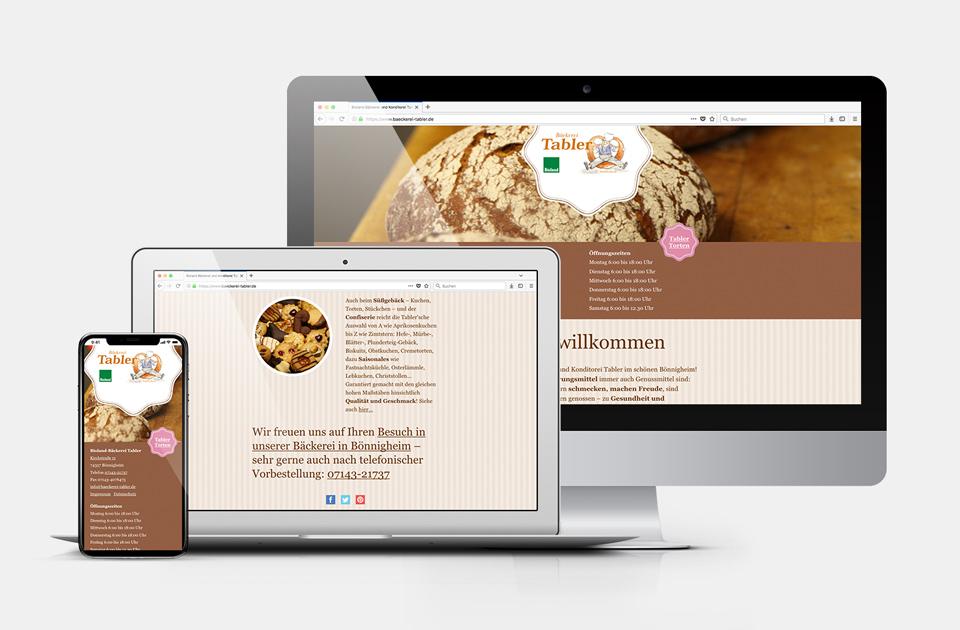 DRWA Das Rudel Werbeagentur Freiburg > Kompetenzen > Web-Design/-Programmierung > Beispiel Bäckerei Tabler, Bönnigheim