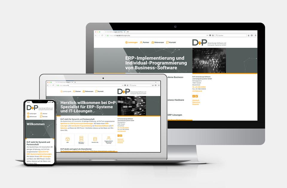 DRWA Das Rudel Werbeagentur Freiburg > Kompetenzen > Web-Design/-Programmierung > Beispiel D+P Software-Lösungen, Gutach