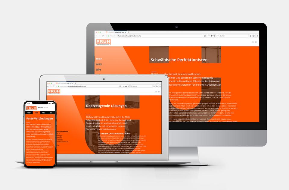 DRWA Das Rudel Werbeagentur Freiburg > Kompetenzen > Web-Design/-Programmierung > Beispiel Früh Schnellbautechnik, Neckartenzlingen